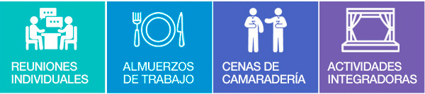 REUNIONES INDIVIDUALES | ALMUERZOS DE TRABAJO | CENAS DE CAMARADERÍA | ACTIVIDADES INTEGRADORAS