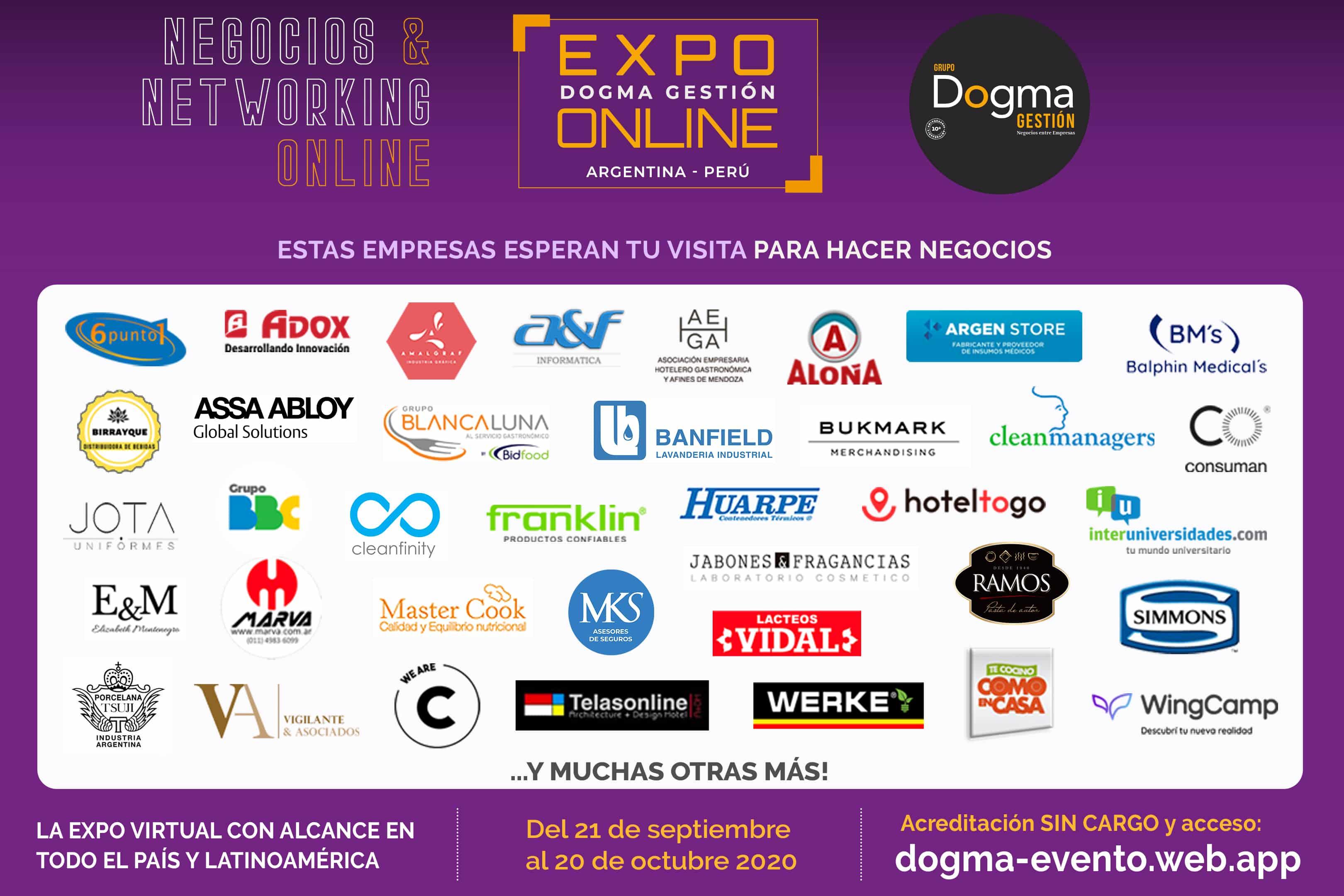 EXPO ONLINE Dogma Gestión -- Estas empresas te esperan para hacer negocios: